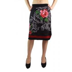 Jupe imprimé floral noir