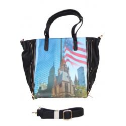 Sac épaule à imprimé empire State Building noir