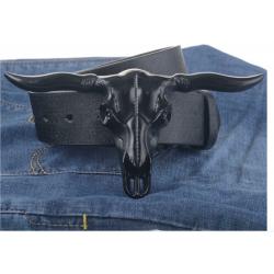 Ceinturon Tête de bovin noir
