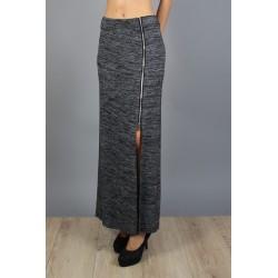 Jupe longue fendue et zippée gris