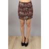 Mini jupe taille haute broderies marron