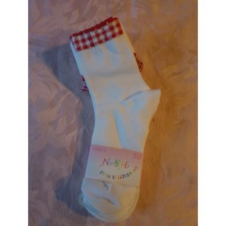 Chaussettes avec carrés rouge et blanc