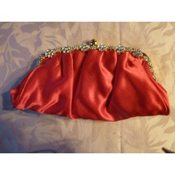 Sac fleurs strass rouge