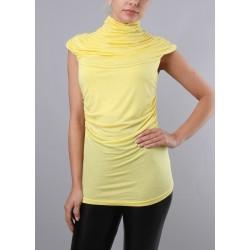 T-Shirt col plissé jaune